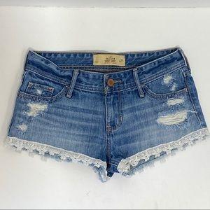 Hollister Destroyed Jean Shorts With Floral Trim